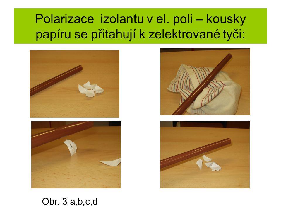 Polarizace izolantu v el. poli – kousky papíru se přitahují k zelektrované tyči: Obr. 3 a,b,c,d