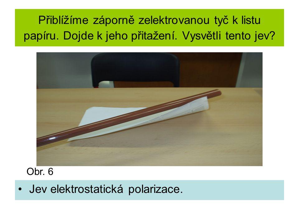 Přiblížíme záporně zelektrovanou tyč k listu papíru.