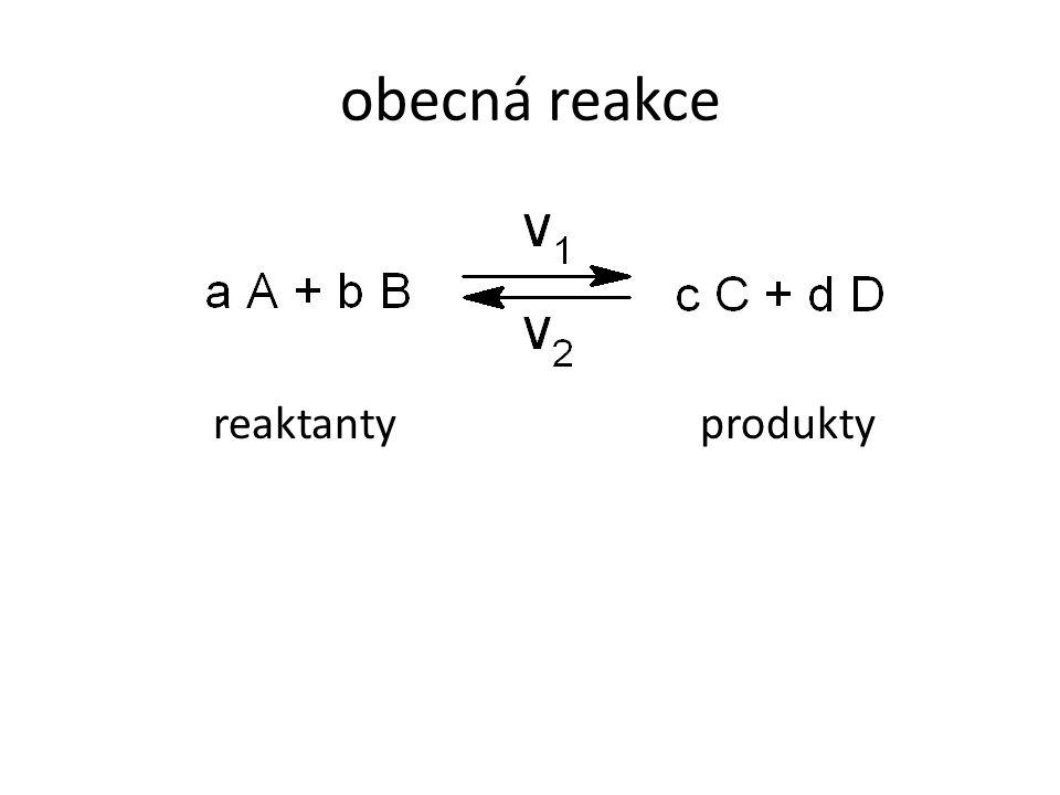 obecná reakce reaktantyprodukty