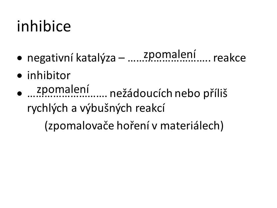 inhibice  negativní katalýza – ……………………….. reakce  inhibitor  ………………………. nežádoucích nebo příliš rychlých a výbušných reakcí (zpomalovače hoření v