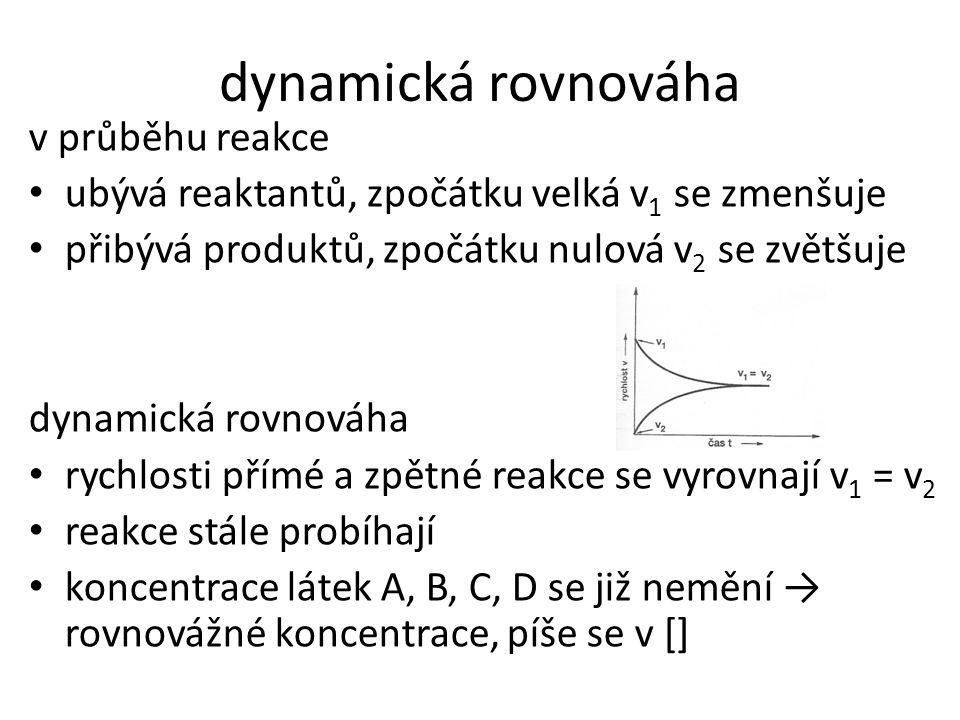 dynamická rovnováha v průběhu reakce • ubývá reaktantů, zpočátku velká v 1 se zmenšuje • přibývá produktů, zpočátku nulová v 2 se zvětšuje dynamická r
