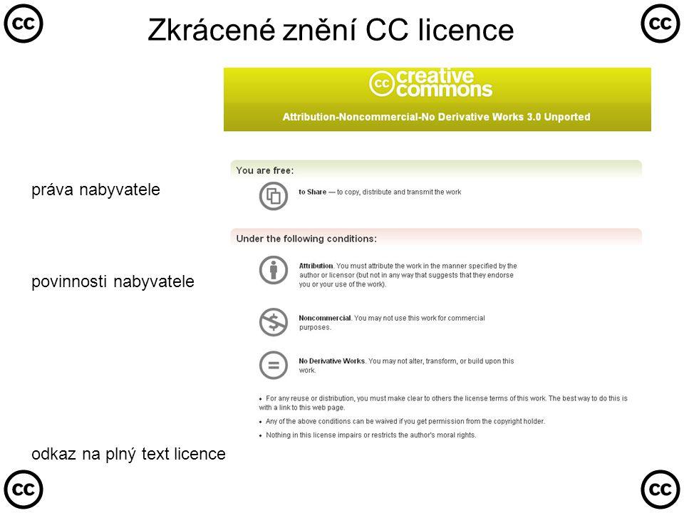 Zkrácené znění CC licence práva nabyvatele povinnosti nabyvatele odkaz na plný text licence