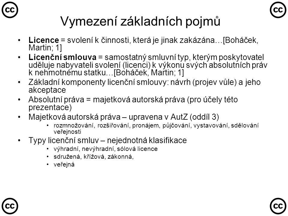 """Veřejné licence •Objevují se v souvislosti s rozvojem informačních sítí (Internet) a pohybu autorských děl v nehmotné (elektronické) podobě •Společné znaky: •Licence je poskytována neurčitému okruhu osob •Licence je poskytována po celou dobu ochrany díla •Licenci získá automaticky každý, kdo dílo v souladu s licencí užívá •Nabyvatelé licence jsou oprávněny dílo dále šířit •Licence je nabízena bezúplatně •Jedná se o standardizovaný text (adhezní smlouvu), který je připojen k nehmotnému dílu •""""softwarové licence •např."""