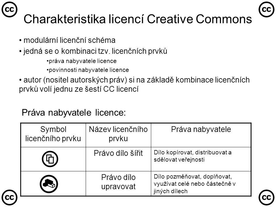 CC licence z pohledu české legislativy 3 relevantní zdroje legislativy: • zásady uzavírání smluv vycházejí z Občanského zákoníku ( jako smlouvy nepojmenované) • zásady uzavírání licenčních smluv k průmyslovému vlastnictví upraveny v Obchodním zákoníku • zásady uzavírání licenčních smluv o dílu upraveny v Autorském zákoně v § 46-55 • k platnému uzavření smlouvy je třeba: • podat návrh (projev vůle) : strana poskytovatele licence • akceptovat návrh (projevit souhlas s podmínkami licence) : strana nabyvatele licence • do poloviny roku 2006 bylo k uzavření licenční smlouvy nutné: • podat návrh adresně • informovat navrhovatele o akceptaci jeho návrhu • novela AutZ č.