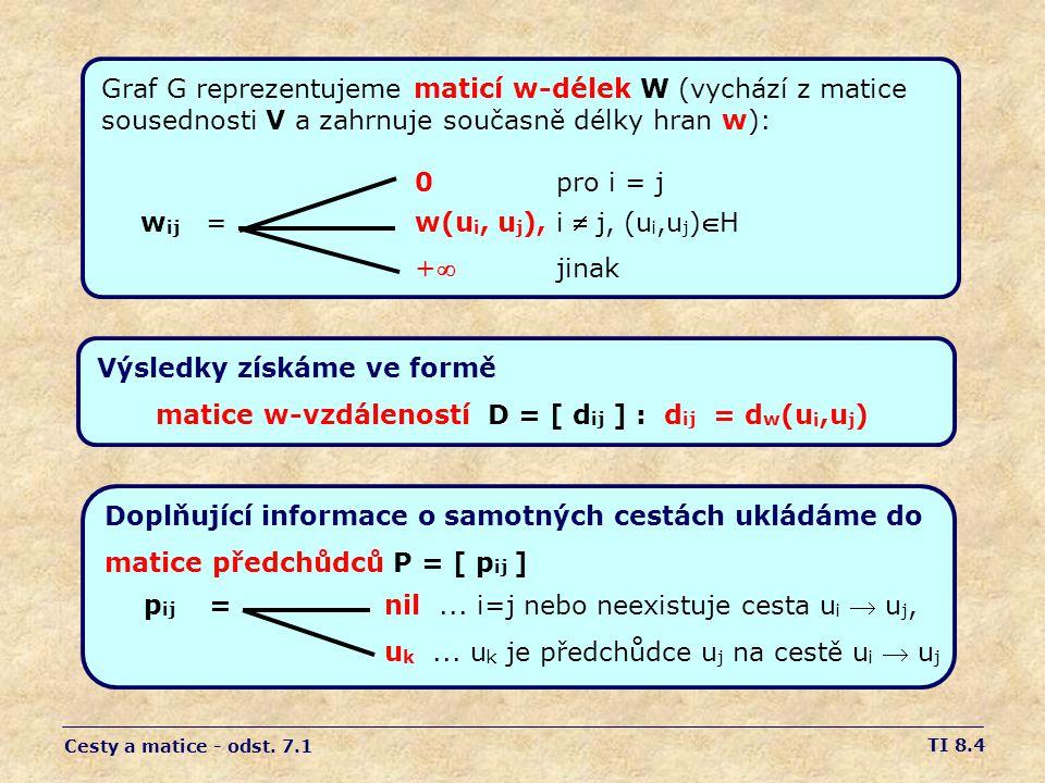 TI 8.4 Graf G reprezentujeme maticí w-délek W (vychází z matice sousednosti V a zahrnuje současně délky hran w): 0 pro i = j w ij = w(u i, u j ), i  j, (u i,u j )H + jinak Cesty a matice - odst.