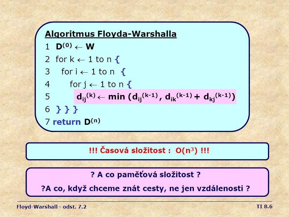 TI 8.6 Algoritmus Floyda-Warshalla 1D (0)  W 2for k  1 to n { 3 for i  1 to n { 4 for j  1 to n { 5 d ij (k)  min (d ij (k-1), d ik (k-1) + d kj (k-1) ) 6} } } 7 return D (n) Floyd-Warshall - odst.