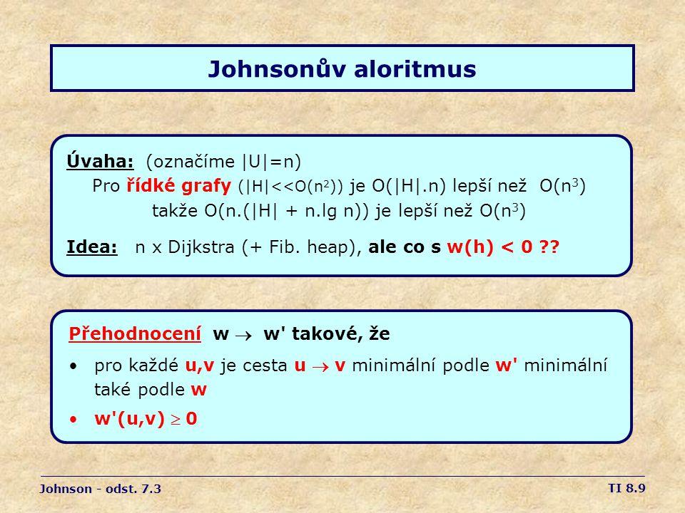 TI 8.9 Johnsonův aloritmus Úvaha: (označíme |U|=n) Pro řídké grafy (|H|<<O(n 2 )) je O(|H|.n) lepší než O(n 3 ) takže O(n.(|H| + n.lg n)) je lepší než O(n 3 ) Idea: n x Dijkstra (+ Fib.