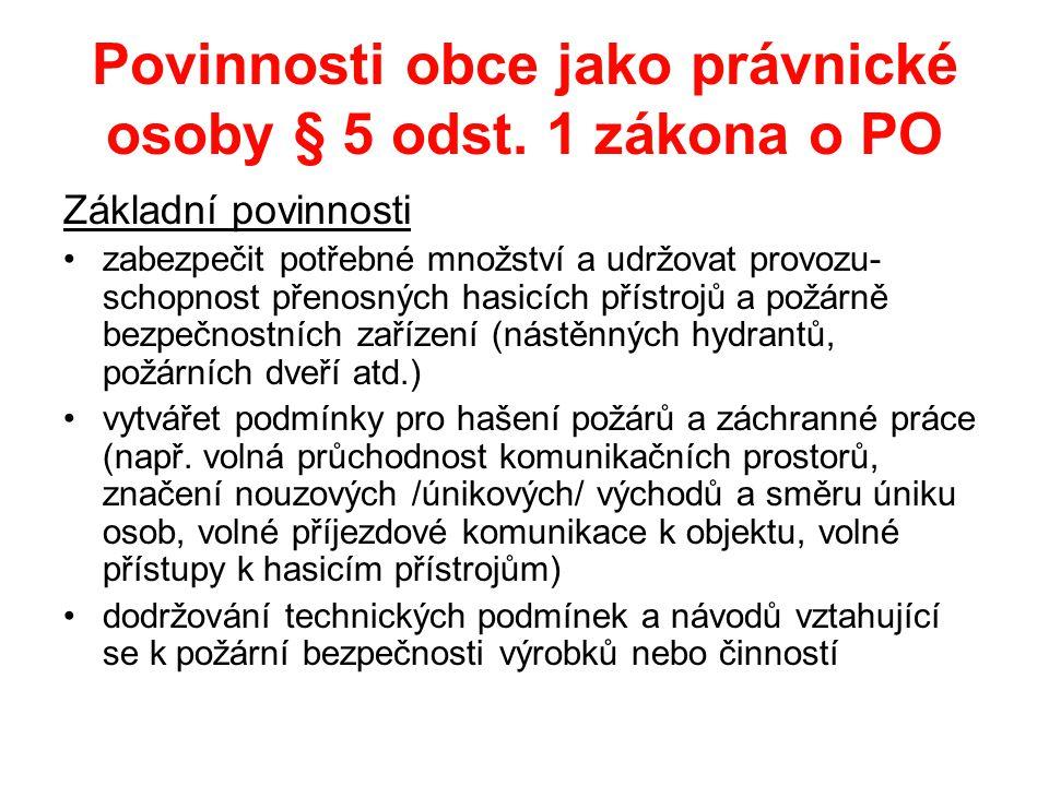 Povinnosti obce jako právnické osoby § 5 odst.