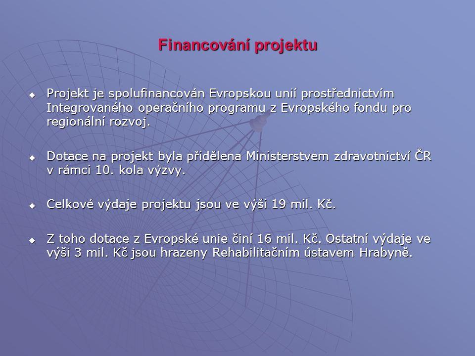 Financování projektu  Projekt je spolufinancován Evropskou unií prostřednictvím Integrovaného operačního programu z Evropského fondu pro regionální r