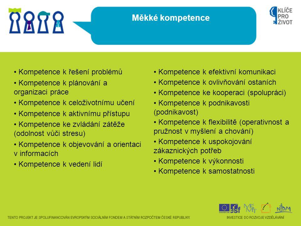 • Kompetence k řešení problémů • Kompetence k plánování a organizaci práce • Kompetence k celoživotnímu učení • Kompetence k aktivnímu přístupu • Kompetence ke zvládání zátěže (odolnost vůči stresu) • Kompetence k objevování a orientaci v informacích • Kompetence k vedení lidí Měkké kompetence • Kompetence k efektivní komunikaci • Kompetence k ovlivňování ostaních • Kompetence ke kooperaci (spolupráci) • Kompetence k podnikavosti (podnikavost) • Kompetence k flexibilitě (operativnost a pružnost v myšlení a chování) • Kompetence k uspokojování zákaznických potřeb • Kompetence k výkonnosti • Kompetence k samostatnosti