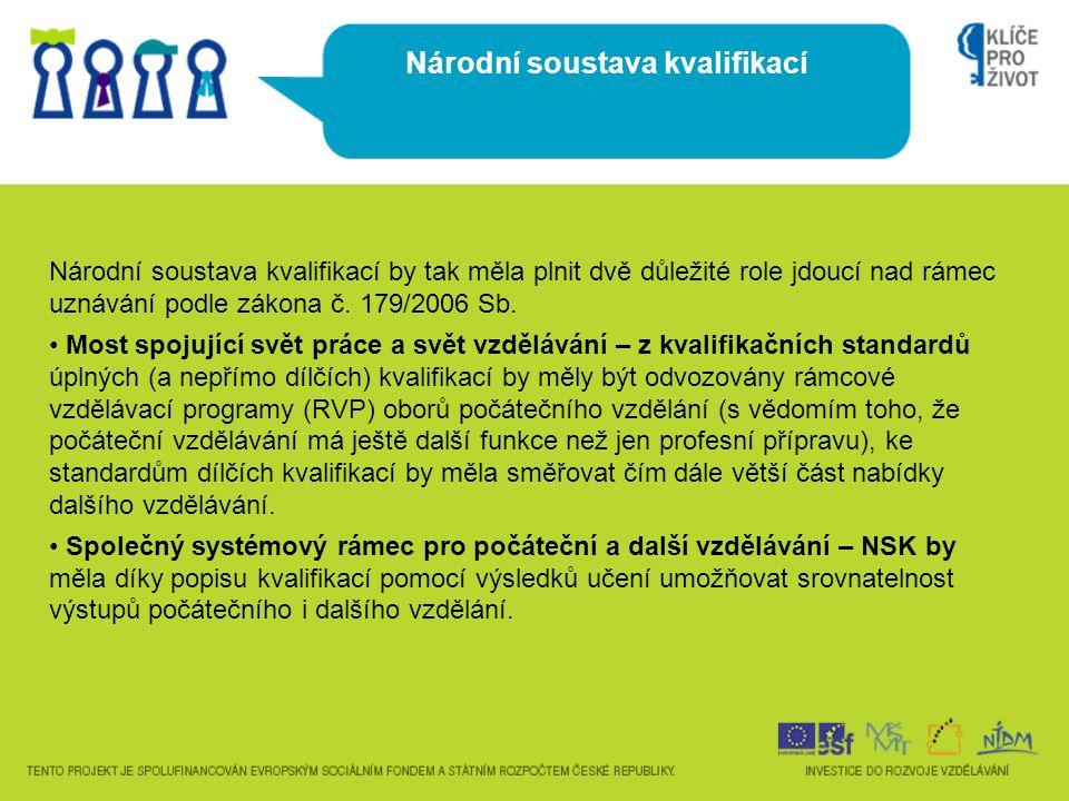 Národní soustava kvalifikací by tak měla plnit dvě důležité role jdoucí nad rámec uznávání podle zákona č.