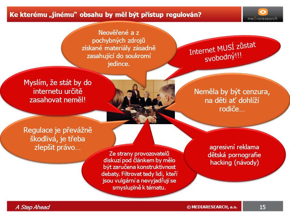 """A Step Ahead15 Ke kterému """"jinému obsahu by měl být přístup regulován."""