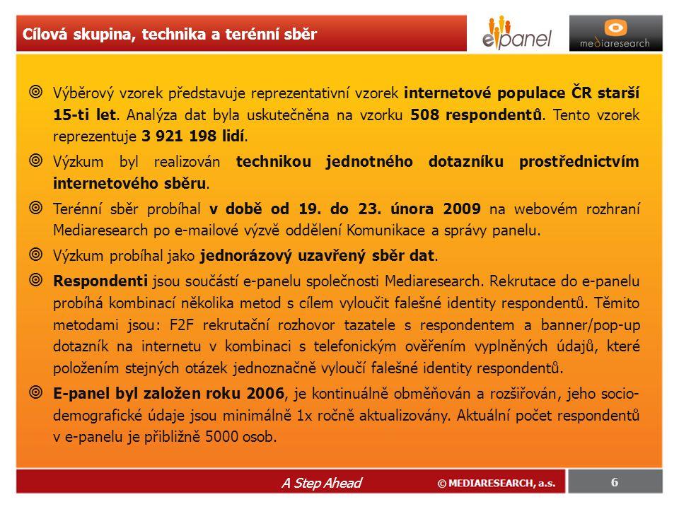  Výběrový vzorek představuje reprezentativní vzorek internetové populace ČR starší 15-ti let.