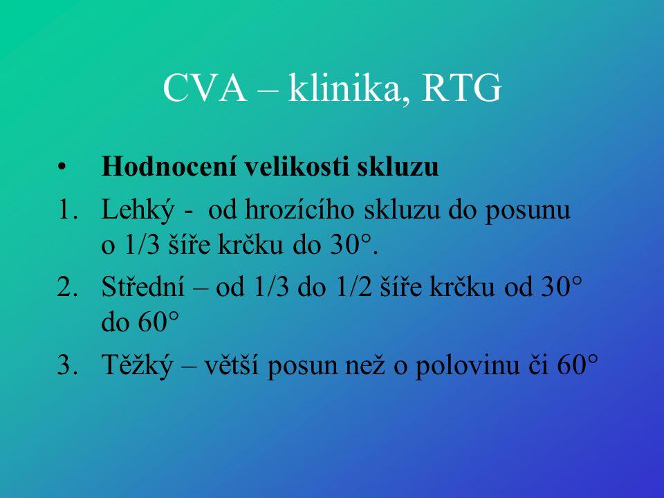 CVA – klinika, RTG •Hodnocení velikosti skluzu 1.Lehký - od hrozícího skluzu do posunu o 1/3 šíře krčku do 30°. 2.Střední – od 1/3 do 1/2 šíře krčku o