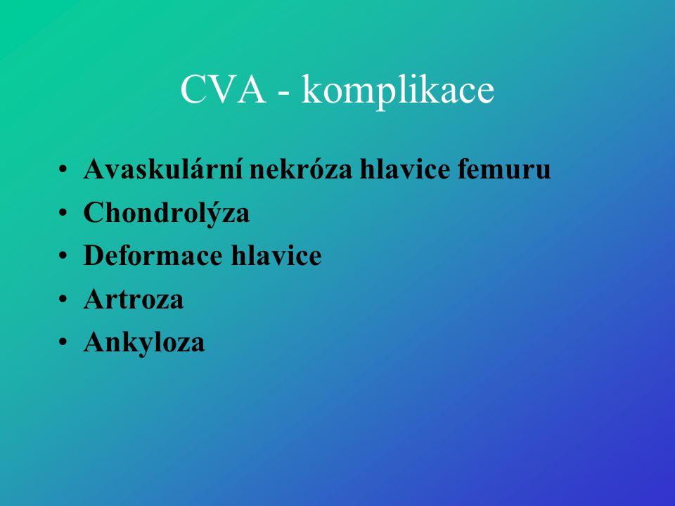 CVA - komplikace •Avaskulární nekróza hlavice femuru •Chondrolýza •Deformace hlavice •Artroza •Ankyloza