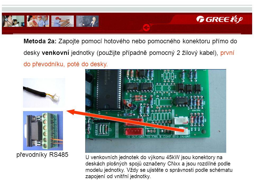 Metoda 2a: Zapojte pomocí hotového nebo pomocného konektoru přímo do desky venkovní jednotky (použijte případně pomocný 2 žilový kabel), první do přev