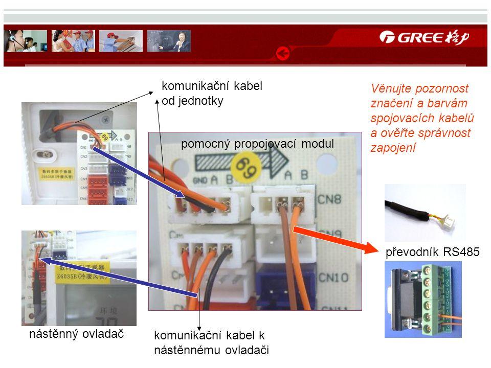 nástěnný ovladač pomocný propojovací modul převodník RS485 komunikační kabel od jednotky komunikační kabel k nástěnnému ovladači Věnujte pozornost značení a barvám spojovacích kabelů a ověřte správnost zapojení