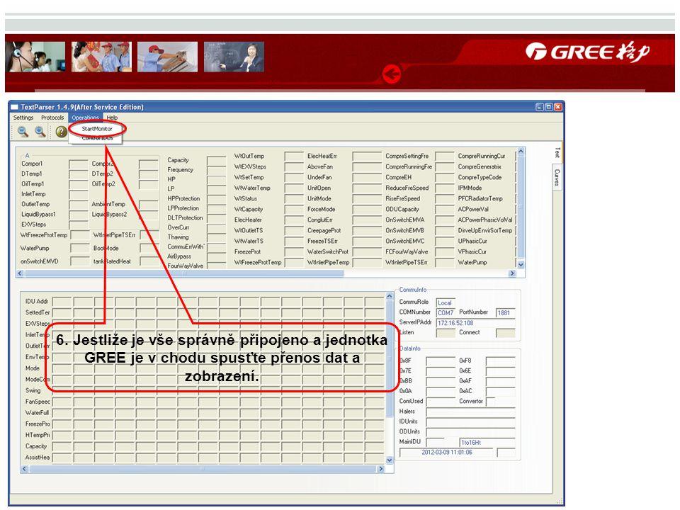 6. Jestliže je vše správně připojeno a jednotka GREE je v chodu spusťte přenos dat a zobrazení.