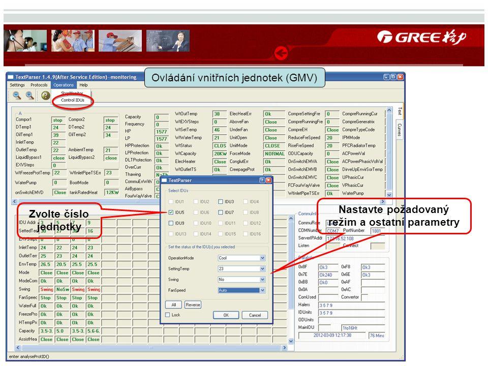 Ovládání vnitřních jednotek (GMV) Zvolte číslo jednotky Nastavte požadovaný režim a ostatní parametry