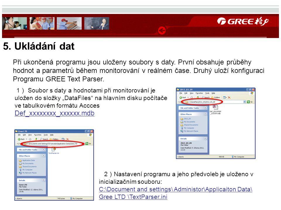 5. Ukládání dat 2 ) Nastavení programu a jeho předvoleb je uloženo v inicializačním souboru: C:\Document and settings\ Administor\Applicaiton Data\ Gr