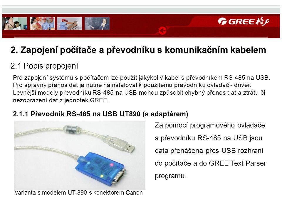 Za pomocí programového ovladače a převodníku RS-485 na USB jsou data přenášena přes USB rozhraní do počítače a do GREE Text Parser programu. 2. Zapoje