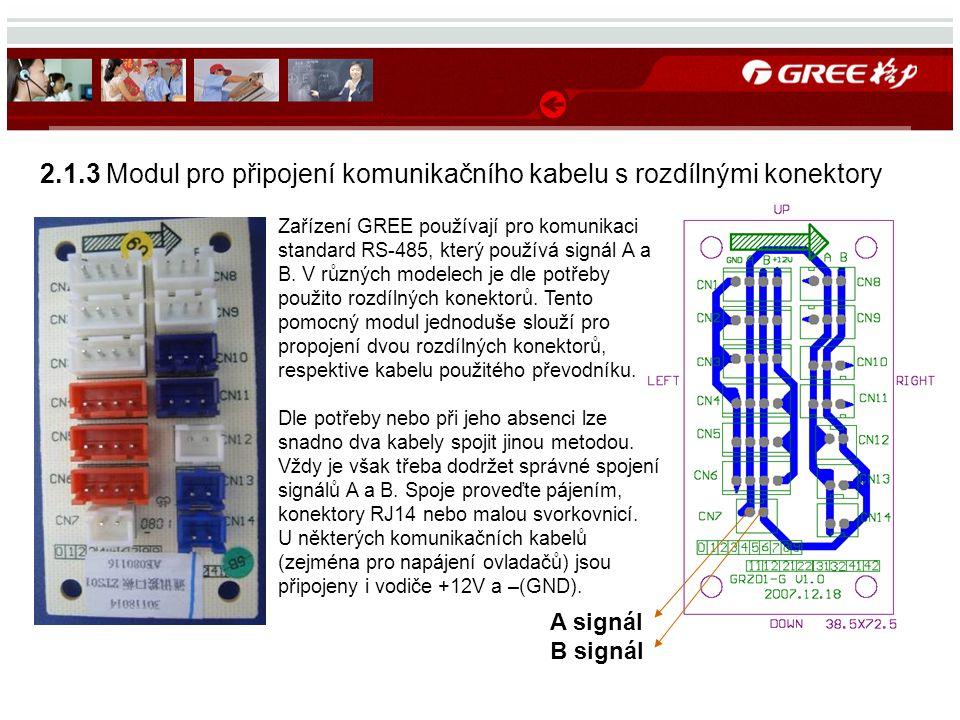 2.1.3 Modul pro připojení komunikačního kabelu s rozdílnými konektory A signál B signál Zařízení GREE používají pro komunikaci standard RS-485, který