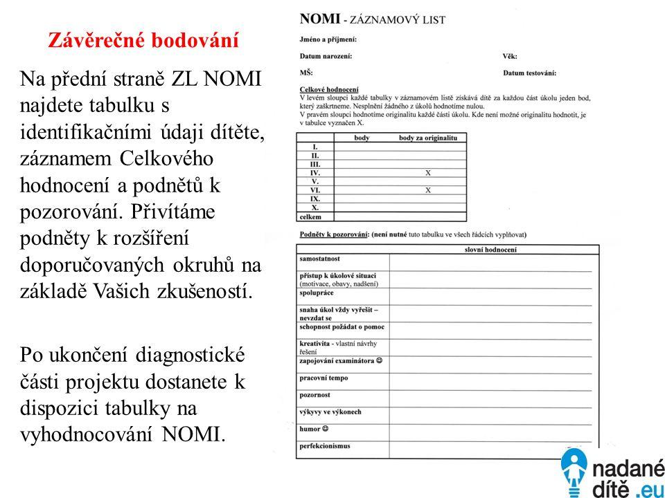 Závěrečné bodování Na přední straně ZL NOMI najdete tabulku s identifikačními údaji dítěte, záznamem Celkového hodnocení a podnětů k pozorování. Přiví