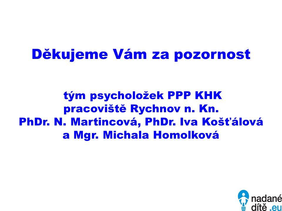 Děkujeme Vám za pozornost tým psycholožek PPP KHK pracoviště Rychnov n. Kn. PhDr. N. Martincová, PhDr. Iva Košťálová a Mgr. Michala Homolková
