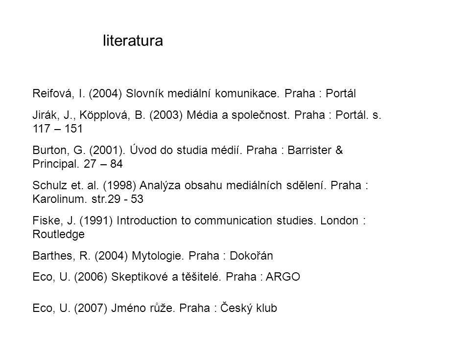 literatura Reifová, I. (2004) Slovník mediální komunikace. Praha : Portál Jirák, J., Köpplová, B. (2003) Média a společnost. Praha : Portál. s. 117 –