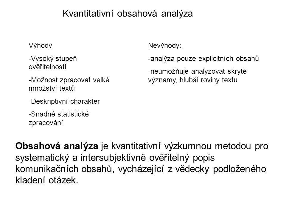 Kvantitativní obsahová analýza Výhody -Vysoký stupeň ověřitelnosti -Možnost zpracovat velké množství textů -Deskriptivní charakter -Snadné statistické