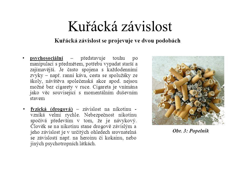 Kuřácká závislost • psychosociální – představuje touhu po manipulaci s předmětem, potřebu vypadat starší a zajímavější. Je často spojena s každodenním