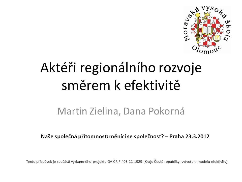 Aktéři regionálního rozvoje směrem k efektivitě Martin Zielina, Dana Pokorná Tento příspěvek je součástí výzkumného projektu GA ČR P 408-11-1929 (Kraje České republiky: vytvoření modelu efektivity).