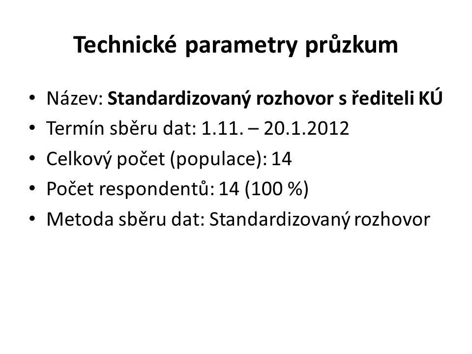 Technické parametry průzkum • Název: Standardizovaný rozhovor s řediteli KÚ • Termín sběru dat: 1.11.