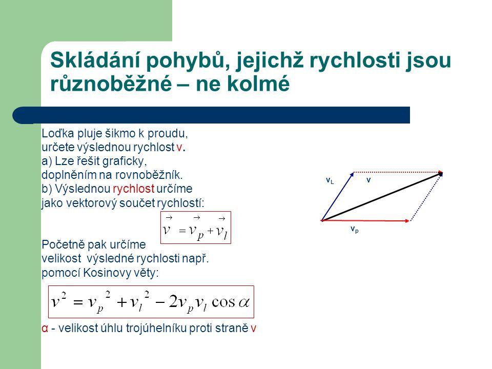 Skládání pohybů, jejichž rychlosti jsou různoběžné – ne kolmé Loďka pluje šikmo k proudu, určete výslednou rychlost v. a) Lze řešit graficky, doplnění