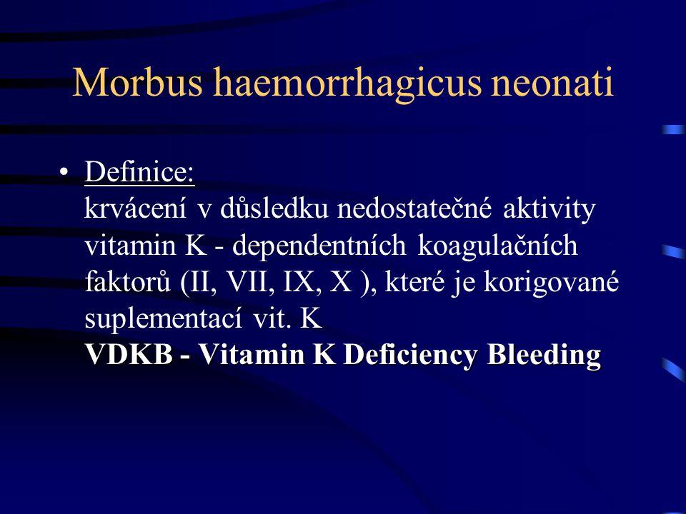 Morbus haemorrhagicus neonati •V roce 1929 při studii na kuřatech byl poprvé objeven vztah mezi deficiencí vitaminu K (VK) a hemoragickými projevy (HNN) •V roce 1940 Dam poprvé popsal vztah mezi HNN a deficiencí VK •V roce 1952 Dam prokázal, že VK podaný matkám před porodem může  incidenci HNN.