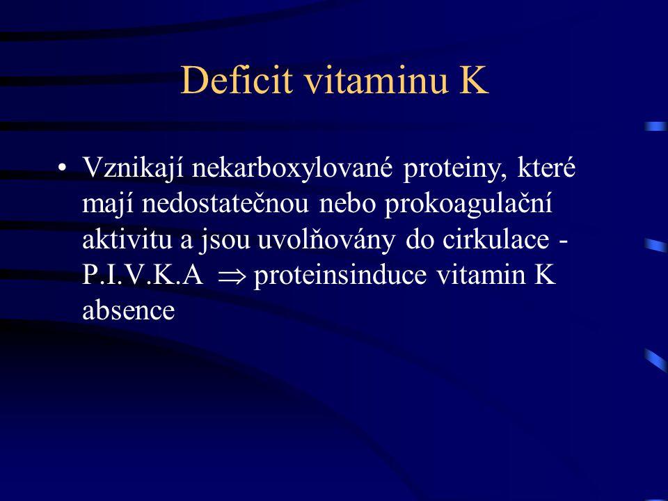 Funkce vitaminu K Nezbytný pro posttranslační modifikaci - gama karboxylaci - inaktivních peptidových prekurzorů prokoagulačních faktorů II, VII, IX, X a antikoagulačních faktorů proteinu C a proteinu S
