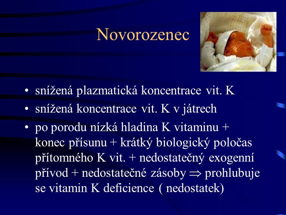 Deficit vitaminu K •Vznikají nekarboxylované proteiny, které mají nedostatečnou nebo prokoagulační aktivitu a jsou uvolňovány do cirkulace - P.I.V.K.A  proteinsinduce vitamin K absence