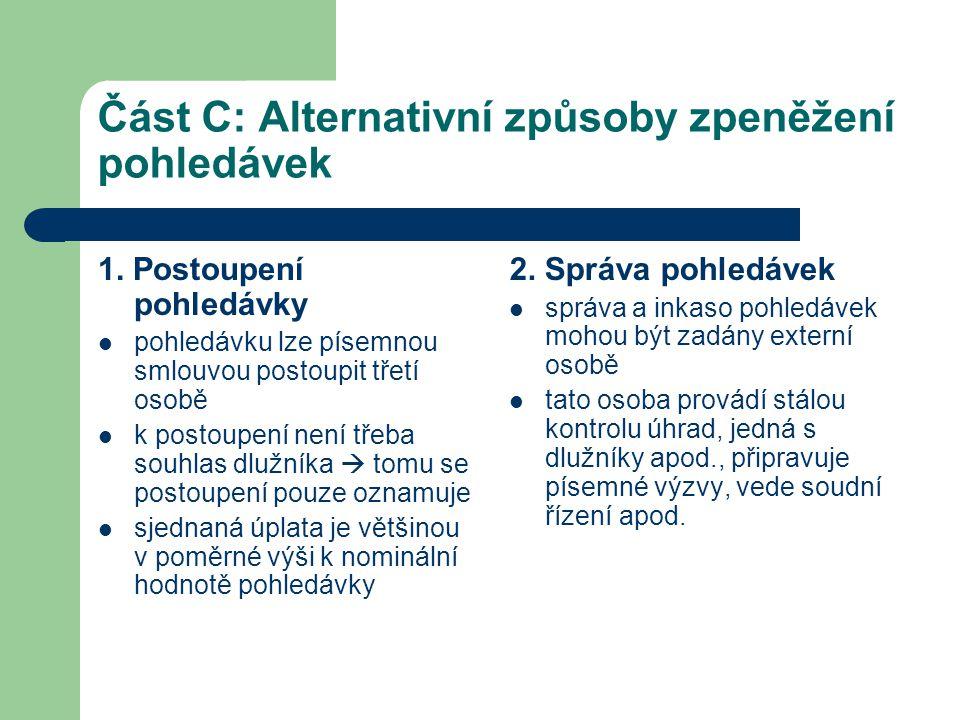 Část C: Alternativní způsoby zpeněžení pohledávek 1. Postoupení pohledávky  pohledávku lze písemnou smlouvou postoupit třetí osobě  k postoupení nen