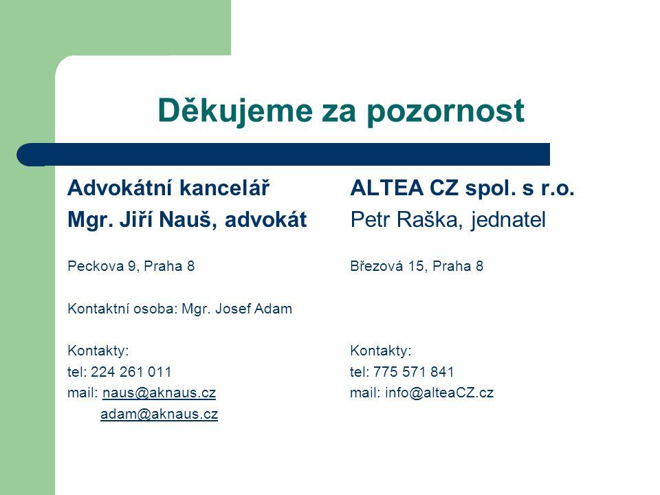 Děkujeme za pozornost Advokátní kancelář Mgr. Jiří Nauš, advokát Peckova 9, Praha 8 Kontaktní osoba: Mgr. Josef Adam Kontakty: tel: 224 261 011 mail:
