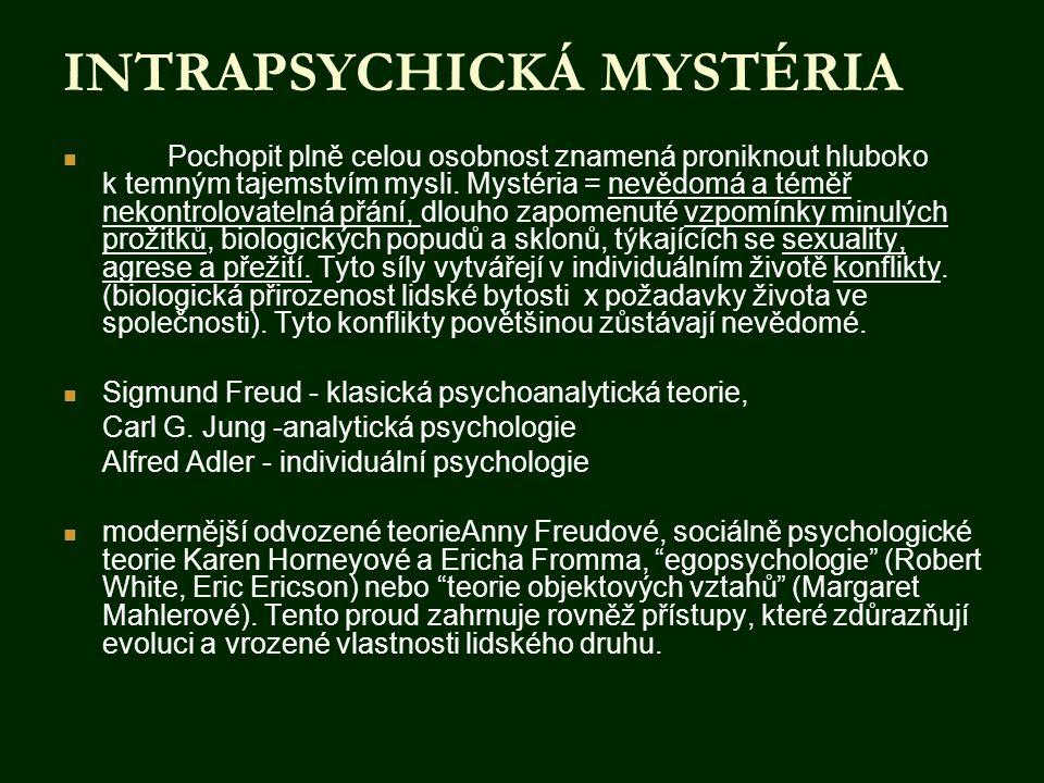 INTRAPSYCHICKÁ MYSTÉRIA  Pochopit plně celou osobnost znamená proniknout hluboko k temným tajemstvím mysli. Mystéria = nevědomá a téměř nekontrolovat