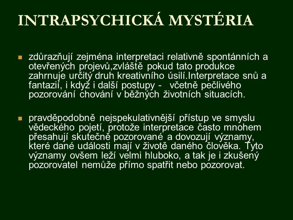 INTRAPSYCHICKÁ MYSTÉRIA  zdůrazňují zejména interpretaci relativně spontánních a otevřených projevů,zvláště pokud tato produkce zahrnuje určitý druh