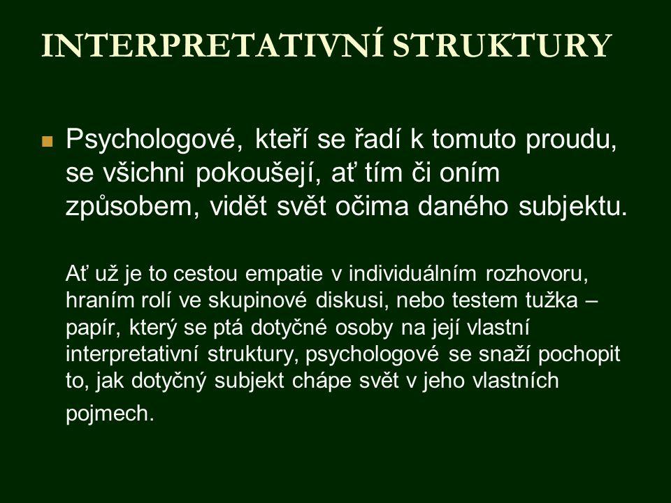 INTERPRETATIVNÍ STRUKTURY  Psychologové, kteří se řadí k tomuto proudu, se všichni pokoušejí, ať tím či oním způsobem, vidět svět očima daného subjek