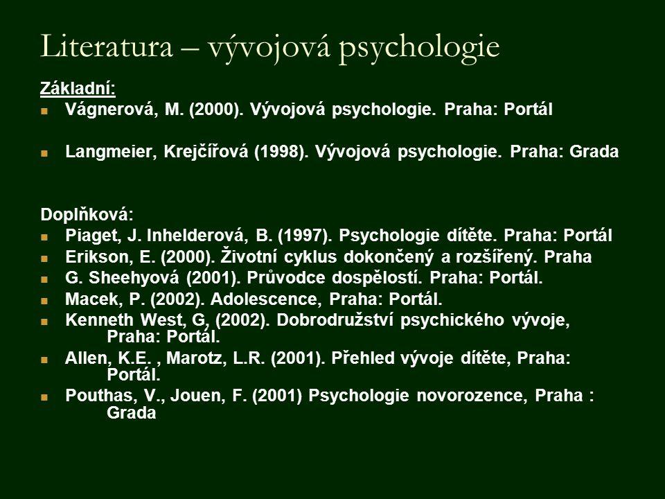 Literatura – vývojová psychologie Základní:  Vágnerová, M. (2000). Vývojová psychologie. Praha: Portál  Langmeier, Krejčířová (1998). Vývojová psych