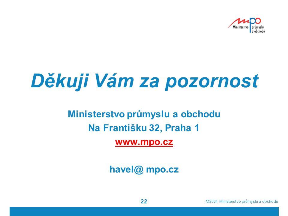  2004  Ministerstvo průmyslu a obchodu 22 Děkuji Vám za pozornost Ministerstvo průmyslu a obchodu Na Františku 32, Praha 1 www.mpo.cz havel@ mpo.cz