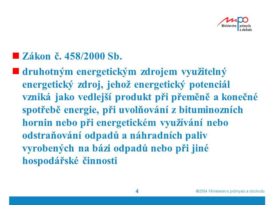  2004  Ministerstvo průmyslu a obchodu 5  Výrobci provozující zařízení na výrobu elektřiny z druhotných energetických zdrojů mají, pokud o to požádají a technické podmínky to umožňují, právo k přednostnímu zajištění dopravy elektřiny přenosovou soustavou a distribučními soustavami, s výjimkou přidělení kapacity mezinárodních přenosových nebo distribučních propojovacích vedení.