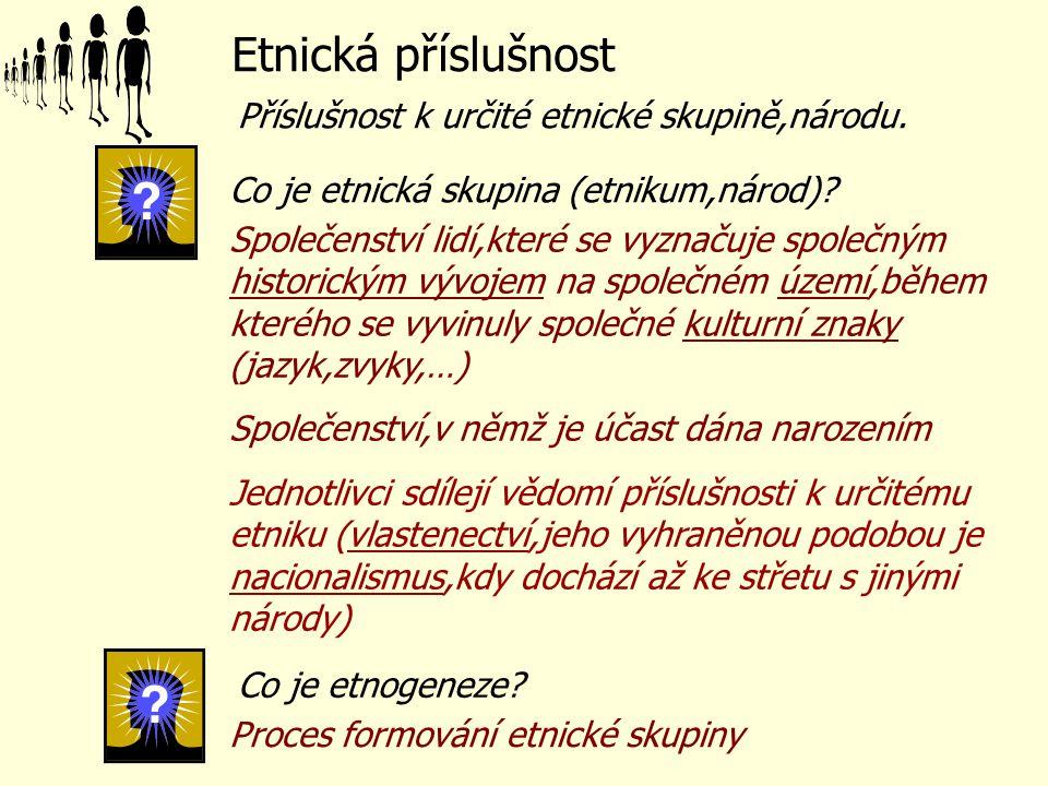 kritérium kulturní společná kultura (jazyk, náboženství,..), společné dějiny kritérium psychologické vědomí příslušnosti k určitému etniku kritérium politické úsilí o vytvoření nezávislosti na vlastním území vymezeném hranicí (úsilí o vytvoření vlastního státu) kritérium kulturní společná kultura (jazyk, náboženství,..), společné dějiny kritérium psychologické vědomí příslušnosti k určitému etniku