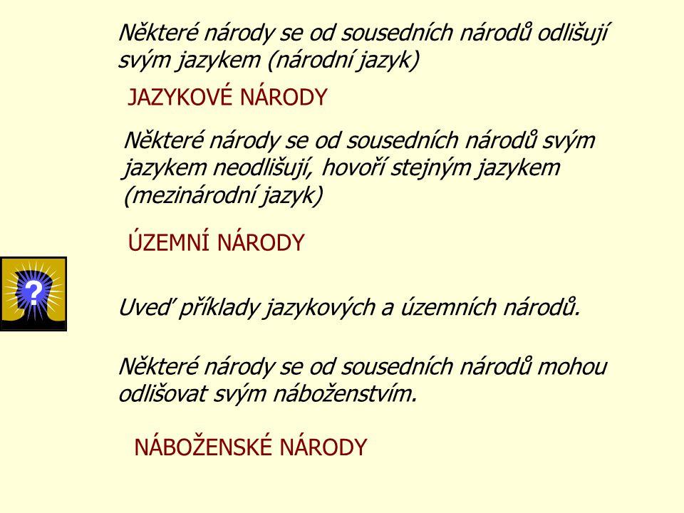 Některé národy se od sousedních národů odlišují svým jazykem (národní jazyk) Některé národy se od sousedních národů svým jazykem neodlišují, hovoří st