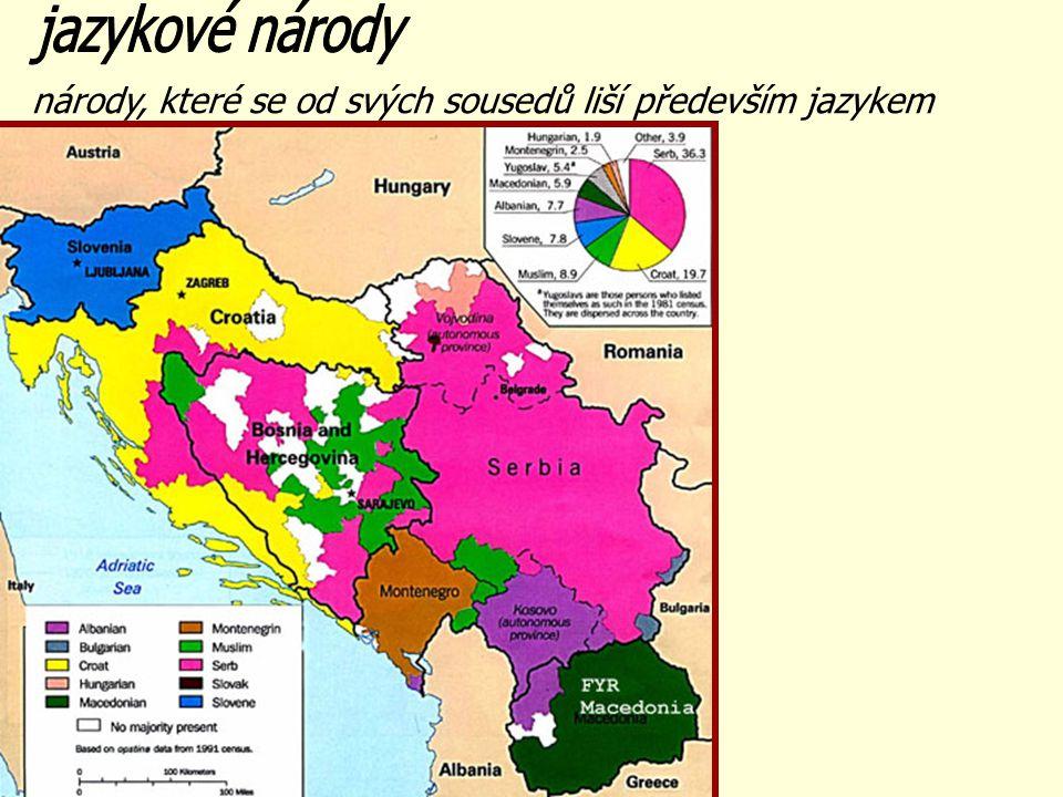 národy, které se od svých sousedů liší především jazykem