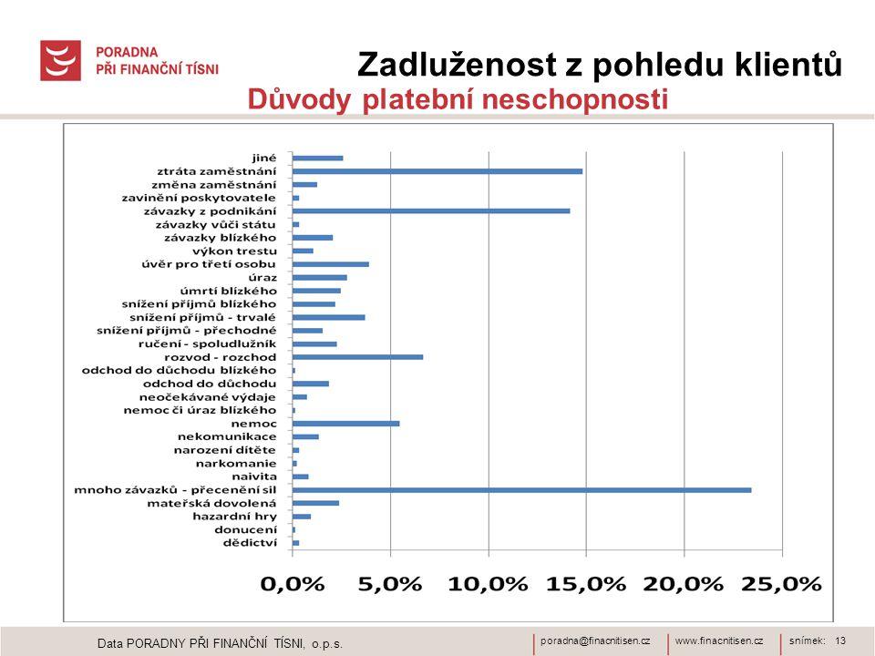 www.finacnitisen.czporadna@finacnitisen.czsnímek: 13 Zadluženost z pohledu klientů Důvody platební neschopnosti Data PORADNY PŘI FINANČNÍ TÍSNI, o.p.s