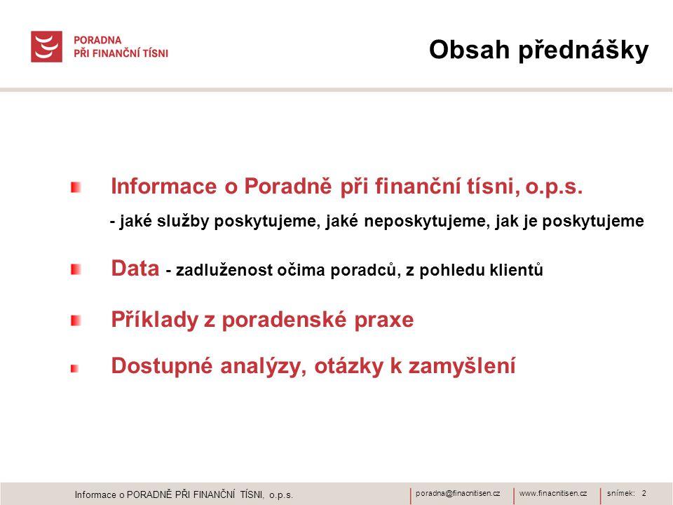 www.finacnitisen.czporadna@finacnitisen.cz Obsah přednášky Informace o Poradně při finanční tísni, o.p.s. - jaké služby poskytujeme, jaké neposkytujem